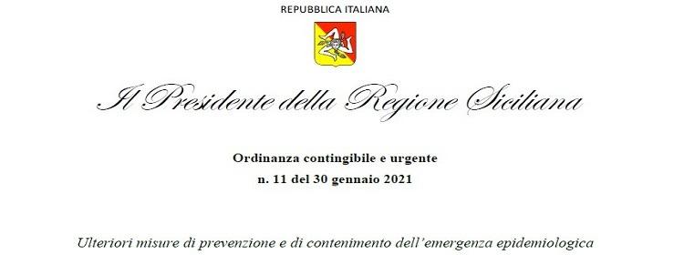 Ordinanza contingibile e urgente n. 11 del 30/01/202 – Ulteriori misure di prevenzione e di contenimento dell'emergenza epidemiologica